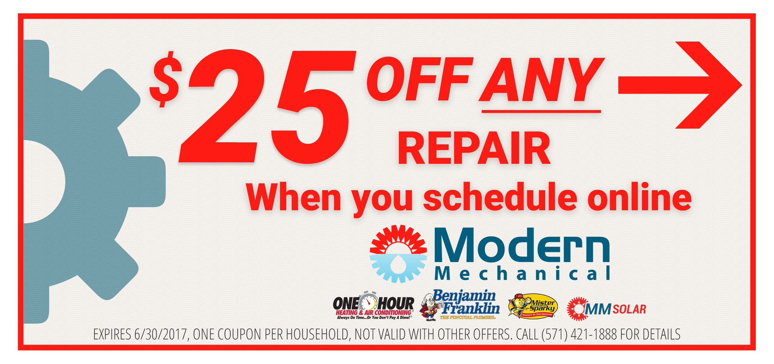 25 dollars of any repair when you schedule online